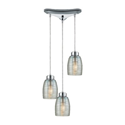 Snyder Triangle Pan 3-Light Cascade Pendant Finish: Polished Chrome/Clear