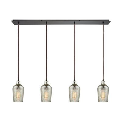 Esteban Linear Pan 4-Light Kitchen Island Pendant Shade Color: Mercury
