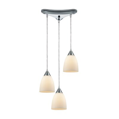 Mcbride Triangle Pan 3-Light Cascade Pendant Shade Color: Opal White