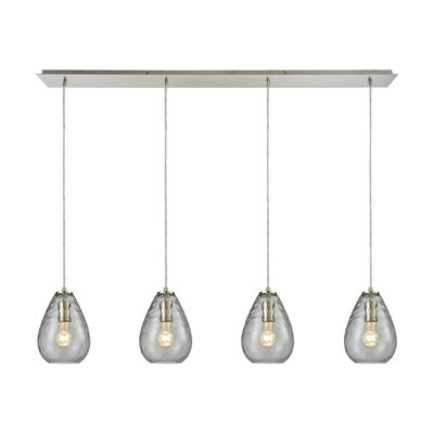 Bradsher Linear Pan 4-Light Kitchen Island Pendant Finish: Satin Nickel/Clear