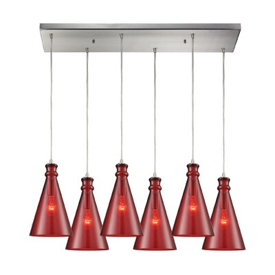 Reed Rectangle 6-Light Cascade Pendant Shade Color: Wine Red