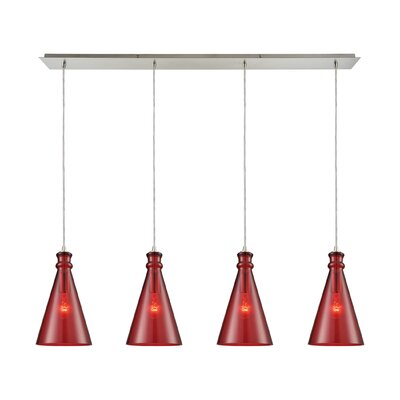 Reed Linear Pan 4-Light Kitchen Island Pendant Shade Color: Wine Red
