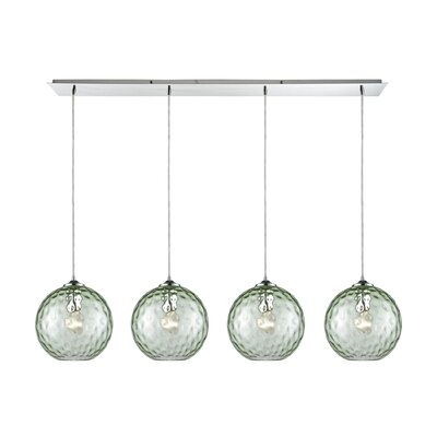 Rotterdam Linear Pan 4-Light Kitchen Island Pendant Shade Color: Green