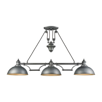 Rodriques Pulldown 3-Light Pool Table Light Finish: Weathered Zinc
