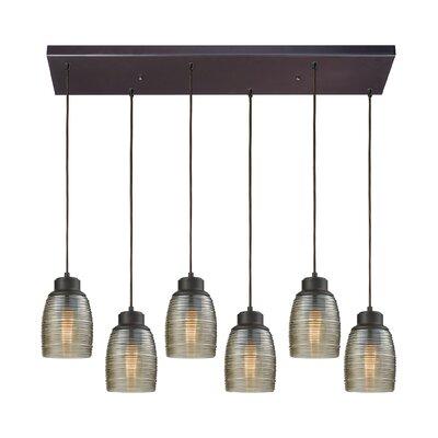 Snyder Rectangle 6-Light Cascade Pendant Finish: Oil Rubbed Bronze/Champagne Plated