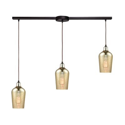 Esteban Linear Bar 3-Light Kitchen Island Pendant Shade Color: Amber Plated