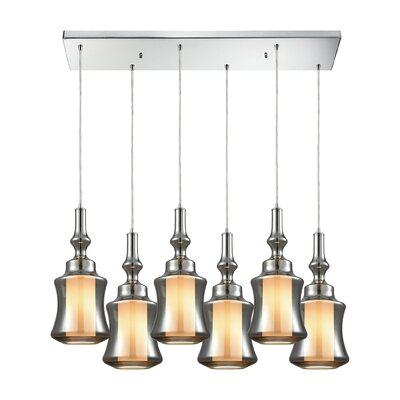 Cabell Rectangle 6-Light Cascade Pendant Shade Color: Smoke Plated
