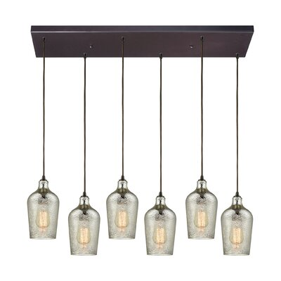 Esteban Rectangle 6-Light Cascade Pendant Shade Color: Mercury