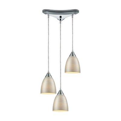 Mcbride Triangle Pan 3-Light Cascade Pendant Shade Color: Silver