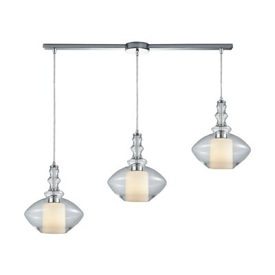 Cabell Linear Bar 3-Light Cascade Pendant