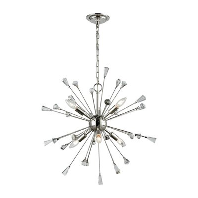 Byrns 6-Light Sputnik Chandelier Finish: Polished Nickel/Clear