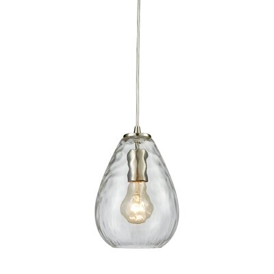Bradsher 1-Light Mini Pendant Finish: Satin Nickel/Clear