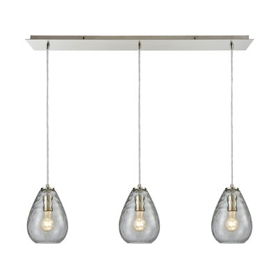 Bradsher Linear Pan 3-Light Kitchen Island Pendant Finish: Satin Nickel/Clear