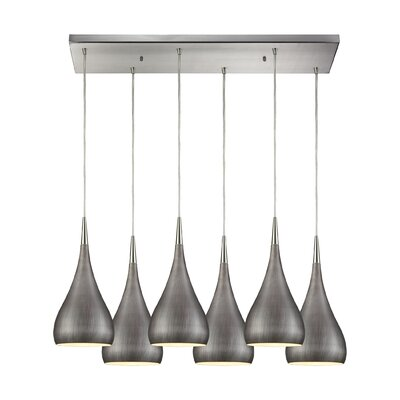 Alan Rectangle 6-Light Cascade Pendant Shade Color: Weathered Zinc