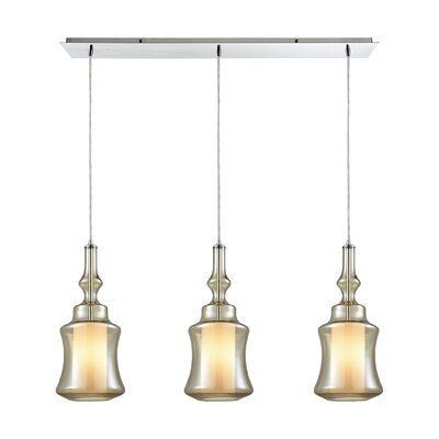 Cabell Linear Pan 3-Light Kitchen Island Pendant Shade Color: Champagne Plated