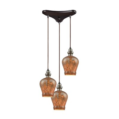 Brightmare Triangle Pan 3-Light Cascade Pendant