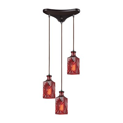 Brunoy Triangle Pan 3-Light Cascade Pendant Shade Color: Wine Red