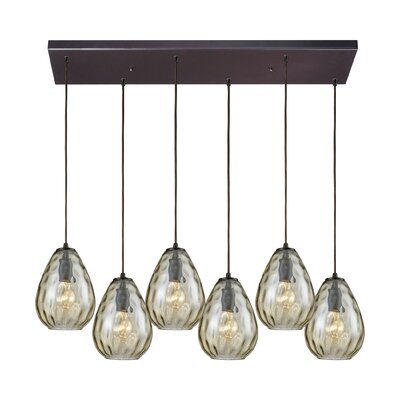 Bradsher Rectangle 6-Light Cascade Pendant Finish: Oil Rubbed Bronze/Champagne Plated