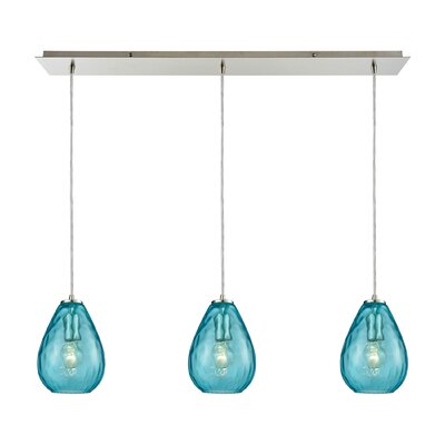 Bradsher Linear Pan 3-Light Kitchen Island Pendant Finish: Satin Nickel/Aqua