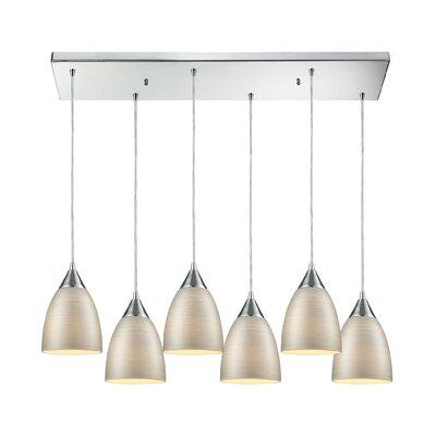 Mcbride Rectangle 6-Light Cascade Pendant Shade Color: Silver