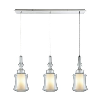 Cabell Linear Pan 3-Light Kitchen Island Pendant Shade Color: Clear