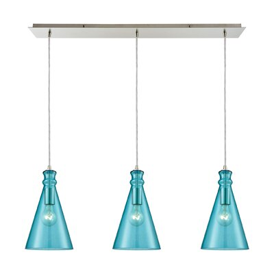 Reed Linear Pan 3-Light Kitchen Island Pendant Shade Color: Aqua