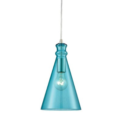 Reed 1-Light Mini Pendant Shade Color: Aqua
