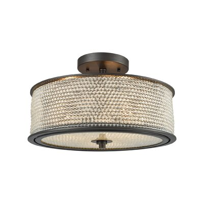 Bridgewater Glass Beads 3-Light Semi Flush Mount