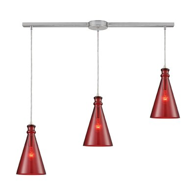 Reed Linear Bar 3-Light Cascade Pendant Shade Color: Wine Red