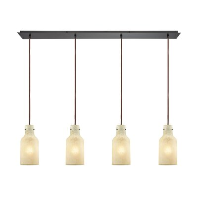Burkhead Linear Pan 4-Light Kitchen Island Pendant Shade Color: Beige