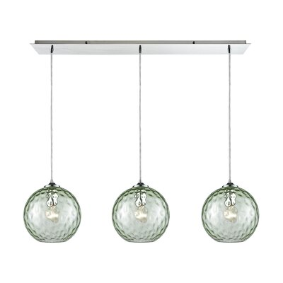 Rotterdam Linear Pan 3-Light Kitchen Island Pendant Shade Color: Green