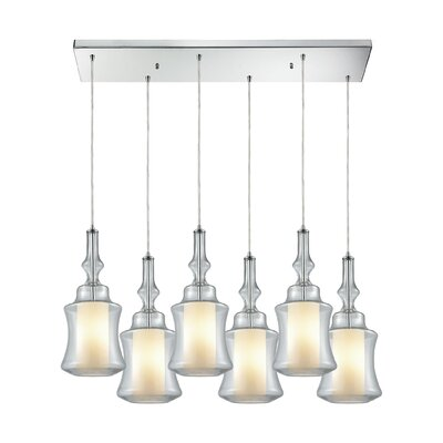 Cabell Rectangle 6-Light Cascade Pendant Shade Color: Clear