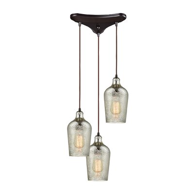 Esteban Triangle Pan 3-Light Cascade Pendant Shade Color: Mercury