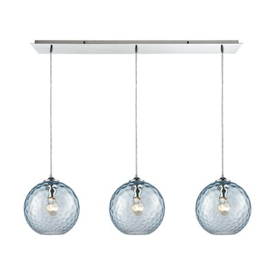 Rotterdam Linear Pan 3-Light Kitchen Island Pendant Shade Color: Aqua