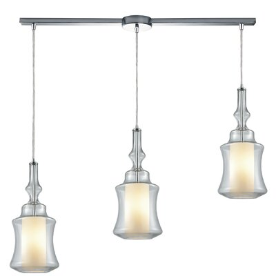 Cabell 3-Light Cascade Pendant Shade Color: Clear