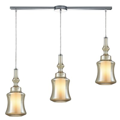 Cabell 3-Light Cascade Pendant Shade Color: Champagne Plated