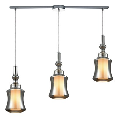 Cabell 3-Light Cascade Pendant Shade Color: Smoke Plated