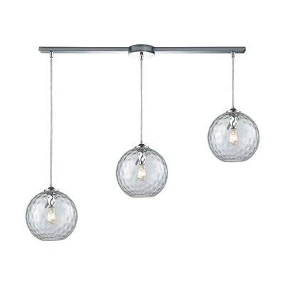 Rotterdam 3-Light Kitchen Island Pendant Shade Color: Clear