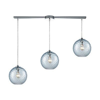 Rotterdam 3-Light Kitchen Island Pendant Shade Color: Aqua