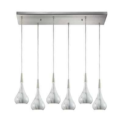 Alan 6-Light Kitchen Island Pendant Shade Color: Marble Print