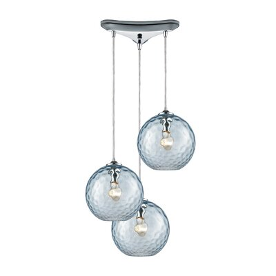 Rotterdam 3-Light Pendant Shade Color: Aqua