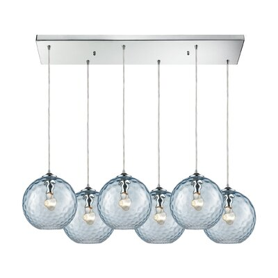 Rotterdam 6-Light Kitchen Island Pendant Shade Color: Aqua