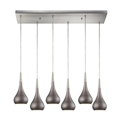 Alan 6-Light Kitchen Island Pendant Shade Color: Weathered Zinc