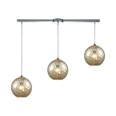 Rotterdam 3-Light Kitchen Island Pendant Shade Color: Mercury