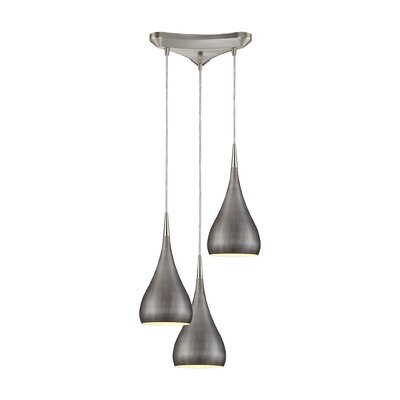 Alan 3-Light Wood Shade Pendant Shade Color: Weathered Zinc