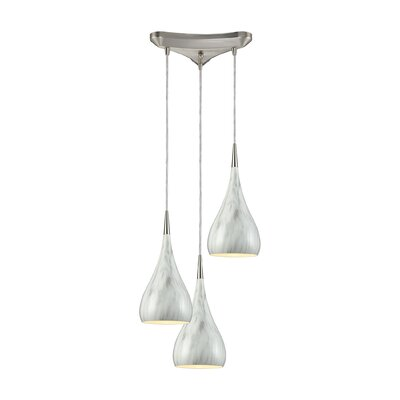 Alan 3-Light Wood Shade Pendant Shade Color: Marble Print
