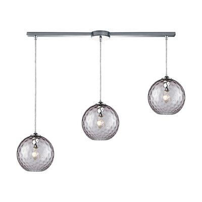 Rotterdam 3-Light Kitchen Island Pendant Shade Color: Purple