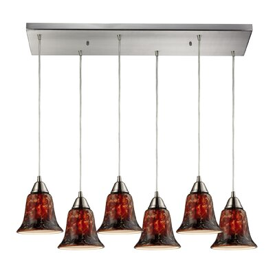 Reina 6-Light Kitchen Island Pendant Shade Color: Fudge