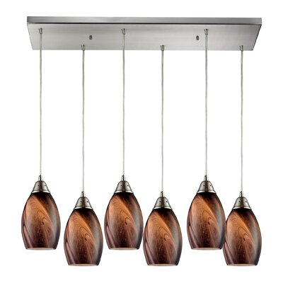 Mease 6-Light Kitchen Island Pendant Shade Color: Rockslide