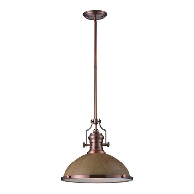 Yohana 1-Light Mini Pendant Finish: Antique Copper, Size: 46 H x 17 W x 17 D, Bulb Type: Incandescent